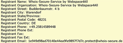 Domain Whois-Eintrag mit Whois-Secure-Service by webspace4all.eu